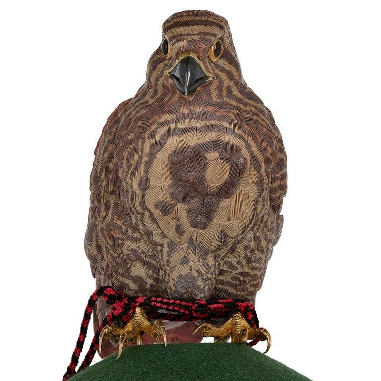 European Zebra Stone and Vermeil Model of a Hawk For Sale