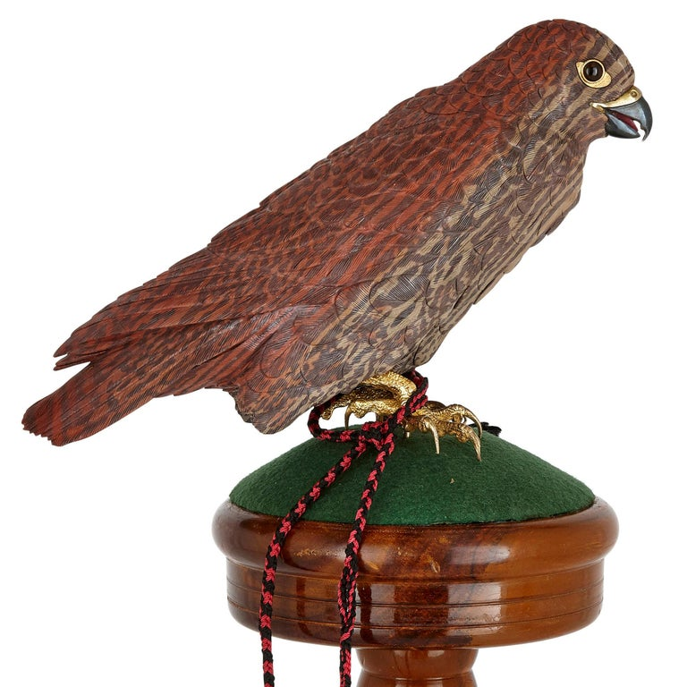 Gilt Zebra Stone and Vermeil Model of a Hawk For Sale