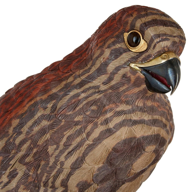 Zebra Stone and Vermeil Model of a Hawk In Good Condition For Sale In London, GB