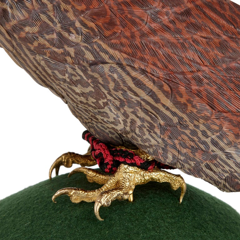 20th Century Zebra Stone and Vermeil Model of a Hawk For Sale