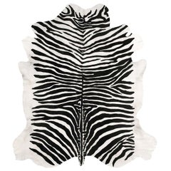 Zebra-Striped Printed Leather Rug Black & White