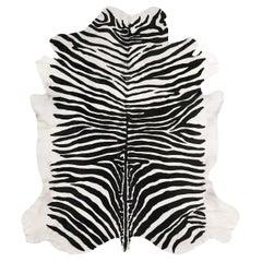 Zebra-Striped Printed Leather Rug Black & White