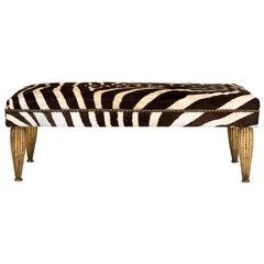 Zebra Upholstered with Gold Leaf Bench