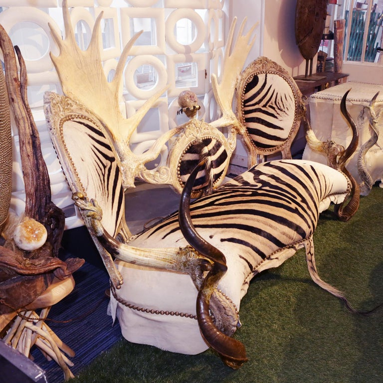 French Zebra with Médaillons Sofa For Sale