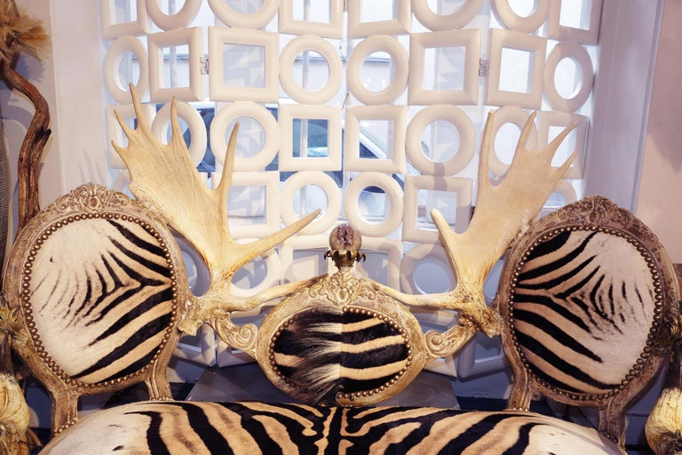 Carved Zebra with Médaillons Sofa For Sale