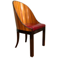 Zebra Wood Contemporary Customizable Red Leather Seats and Black Details Chairs