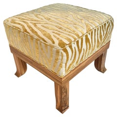 Zebra Wood Short Stop Ottoman with Gold Sculpted Embossed Chenille Upholstery
