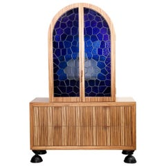 Zebrano and Stained Glass Batvian Armoire by Egg Designs