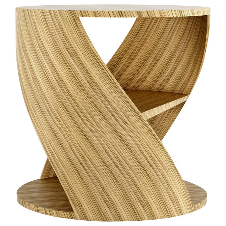 Zebrano Decorative Nightstand, MYDNA Side Table by Joel Escalona For Sale