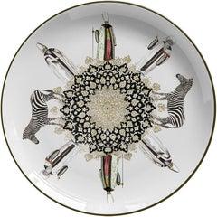 Zebras Porcelain Dinner Plate by Vito Nesta for Les-Ottomans