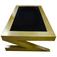 Zee Shaped Brass Coated Coffee Table with Glass Inset