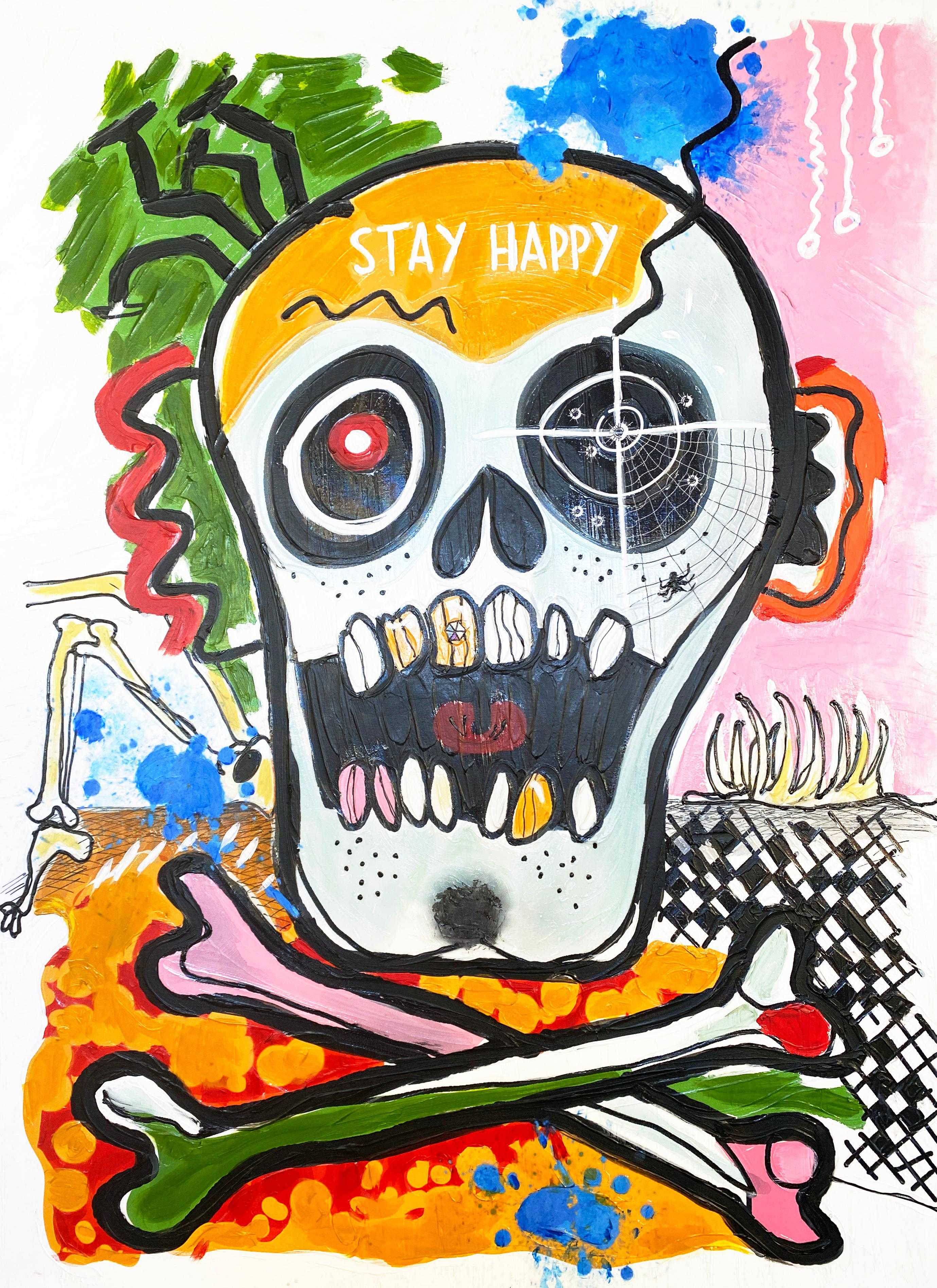 """Stay Happy, Skull, Day of the Dead, Mixed Media Skull Painting H48 X W36"""""""
