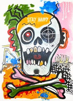 Stay Happy, Skull, Day of the Dead, Mixed Media Skull Painting H48 X W36""