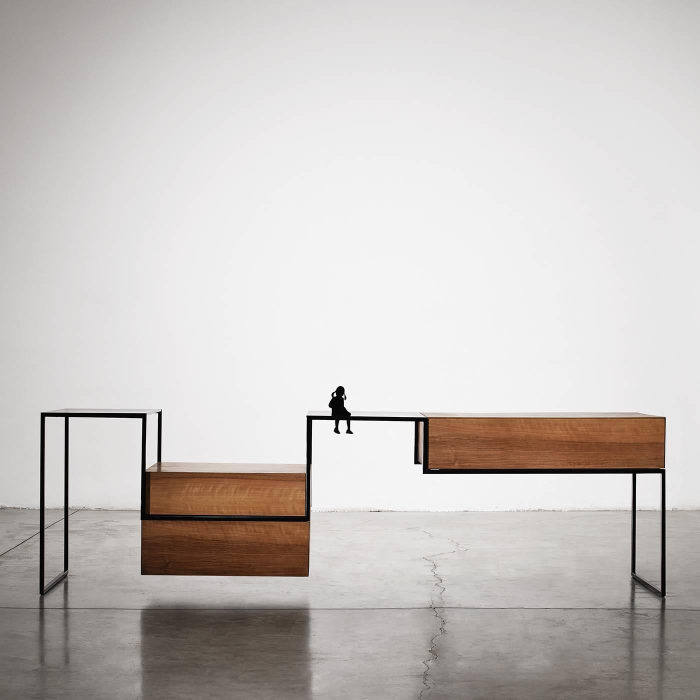 Incroyable Zefir Walnut And Iron Sideboard By Giacomo Moor In Excellent Condition For  Sale In Milan,