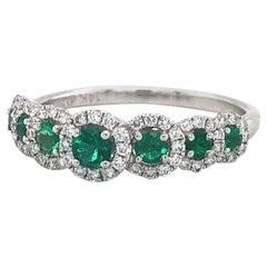 Zeghani Emerald and Diamond Halo Band Ring 14 Karat White Gold