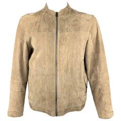 ZEGNA SPORT Size L Khaki Leather Nehru Collar Jacket