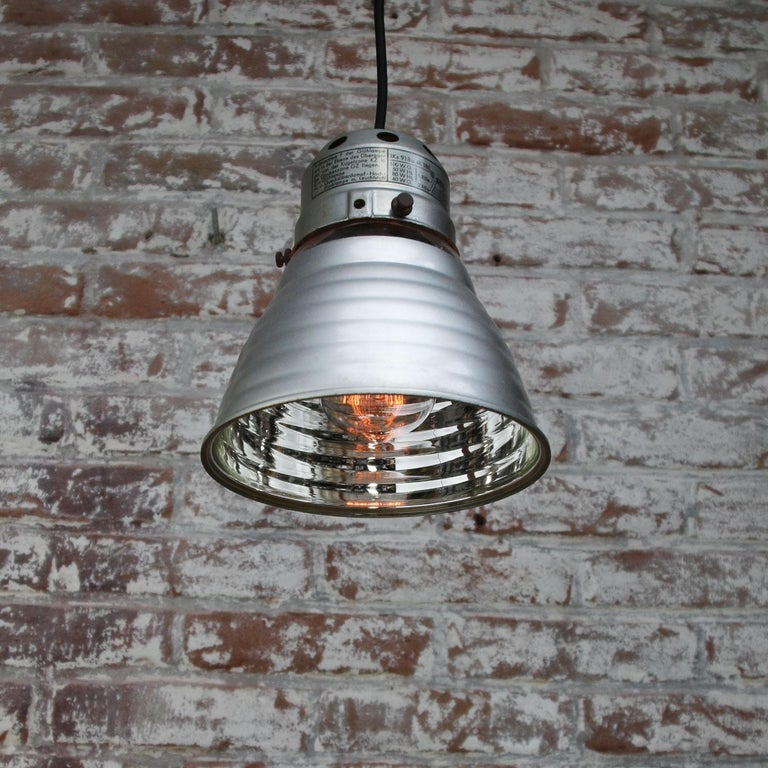 20th Century Zeiss Ikon Mirror Glass Vintage Industrial Hanging Light Pendant For Sale