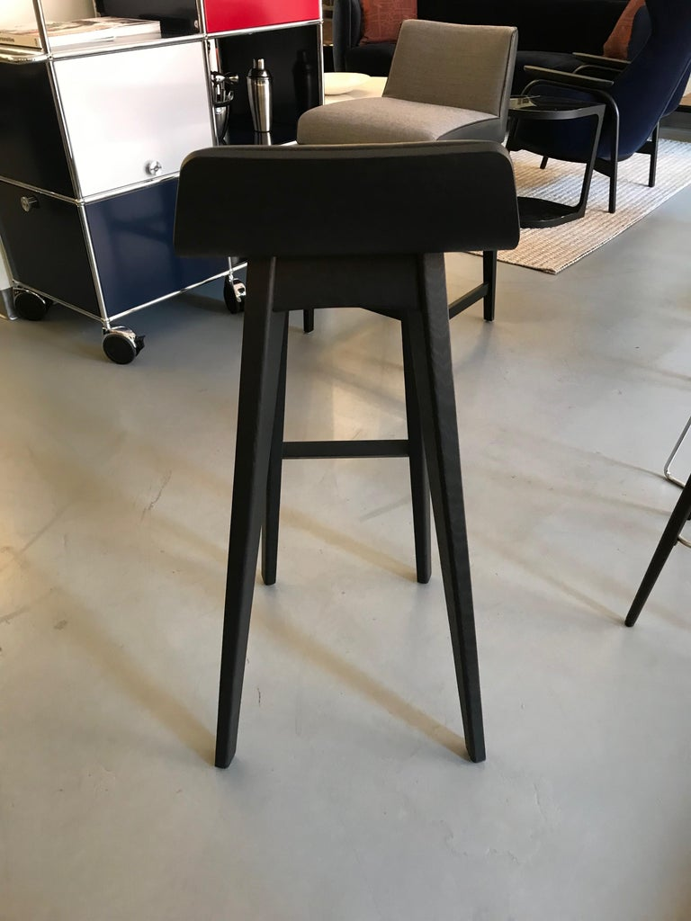 German Zeitraum Morph Oak Black Stained Stool with Black Leather Seat For Sale