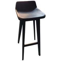 Zeitraum Morph Oak Black Stained Stool with Black Leather Seat