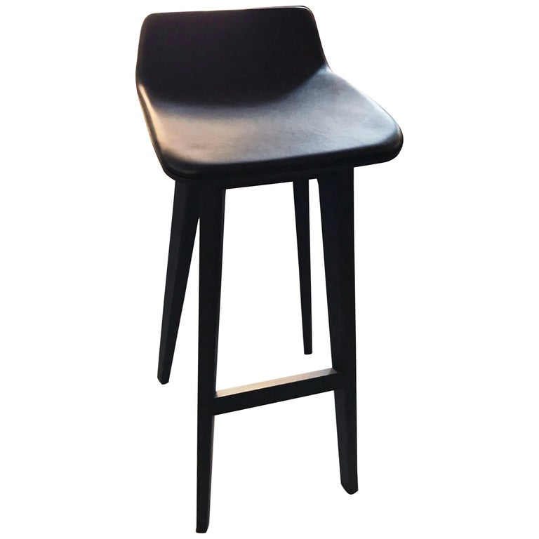 Zeitraum Morph Oak Black Stained Stool with Black Leather Seat For Sale