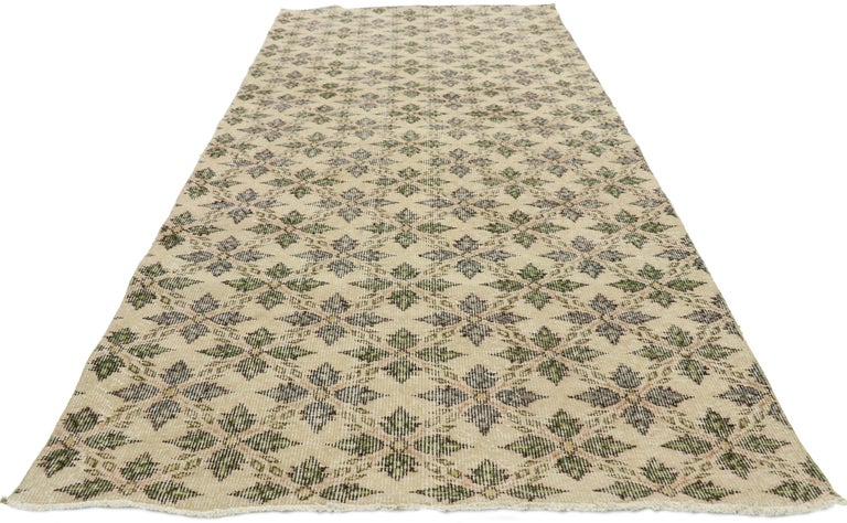Colonial Revival Zeki Muren Distressed Vintage Turkish Runner With Rustic Colonial Style For Sale