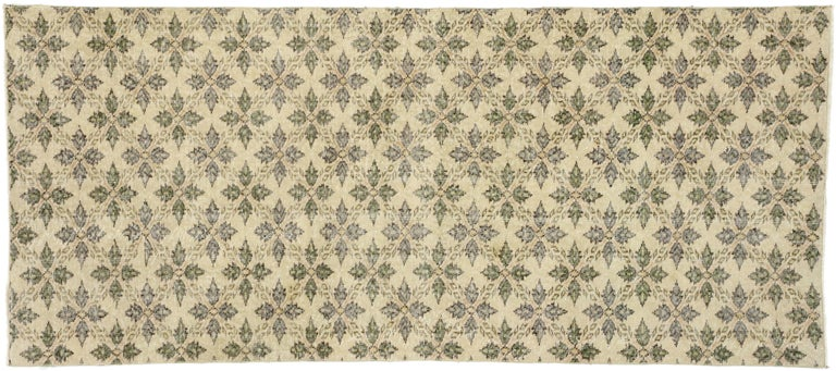 Zeki Muren Distressed Vintage Turkish Runner With Rustic Colonial Style For Sale 2