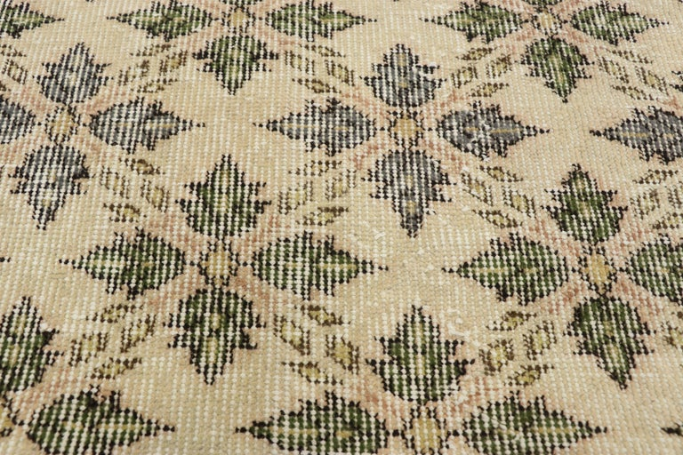 Hand-Knotted Zeki Muren Distressed Vintage Turkish Runner With Rustic Colonial Style For Sale