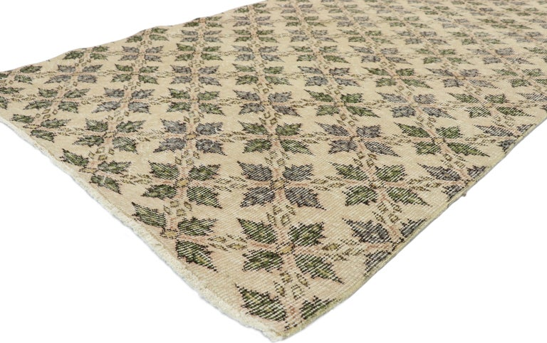 51997 Zeki Muren Distressed Vintage Turkish Runner With Rustic Colonial Style 3'9 x 8'5. Warm and inviting, this hand knotted wool distressed vintage Turkish Sivas runner awakens the soul with its understated elegance, Colonial style, and
