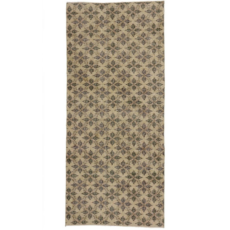 Zeki Muren Distressed Vintage Turkish Runner With Rustic Colonial Style For Sale
