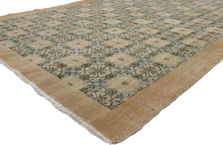 52570 Zeki Muren distressed vintage Turkish Sivas rug with Swedish cottage Gustavian style. Lovingly timeworn with Gustavian grace, this hand knotted wool distressed Turkish Sivas rug beautifully embodies a Swedish Farmhouse style. The field is