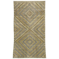 Zeki Muren Distressed Vintage Turkish Sivas Rug with Art Deco Cubism Style