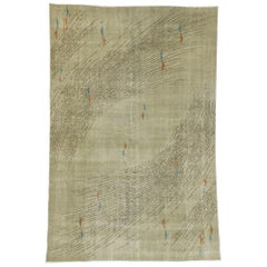 Zeki Muren Distressed Vintage Turkish Sivas Rug with Biomorphic Design