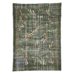 Zeki Muren Distressed Vintage Turkish Sivas Rug with Biophilic Prairie Style