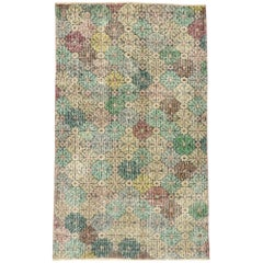 Zeki Muren Distressed Vintage Turkish Sivas Rug with English Chintz Style