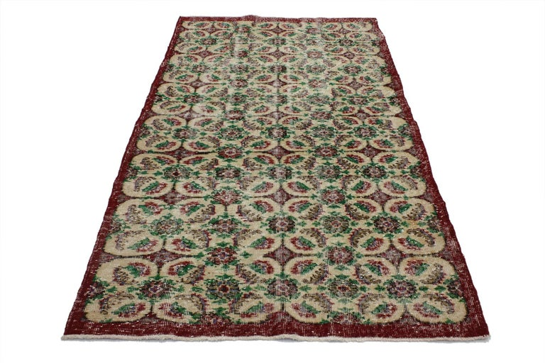 51981, Zeki Muren Vintage Turkish Rug With French Country, Swedish Farmhouse Style, 3'10 X 6'09.  This vintage Turkish Sivas rug features an all-over repeating geometric pattern of serrated leaves, feathers, floral diamonds and roundels. This
