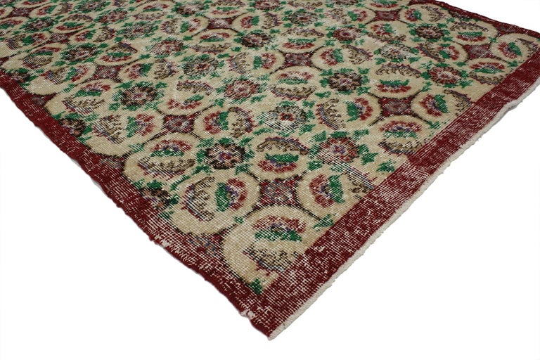 Hand-Knotted Zeki Muren Vintage Turkish Rug With French Country, Swedish Farmhouse Style For Sale