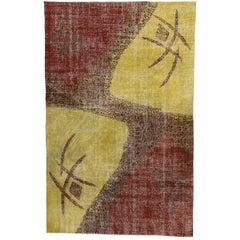 Zeki Muren Distressed Vintage Turkish Sivas Rug with Industrial Art Deco Style