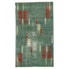 Zeki Müren Distressed Vintage Turkish Sivas Rug with Linear Abstract Style