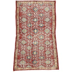 Zeki Muren Distressed Vintage Turkish Sivas Rug with Modern Rustic English Style