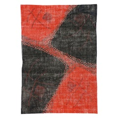 Zeki Muren Distressed Vintage Turkish Sivas Rug with Retro Art Deco Style