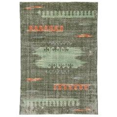 Zeki Muren Distressed Vintage Turkish Sivas Rug with Retro Expressionist Style
