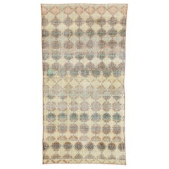 Zeki Muren Distressed Vintage Turkish Sivas Rug with Rustic Artisan Style