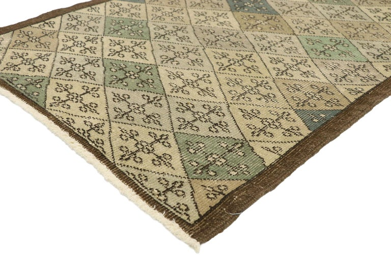 51011 Zeki Muren distressed vintage Turkish Sivas rug with Swedish Farmhouse style 02'09 X 06'05. Lovingly timeworn with Gustavian grace, this hand knotted wool distressed Turkish Sivas rug beautifully embodies a Swedish Farmhouse style. The field