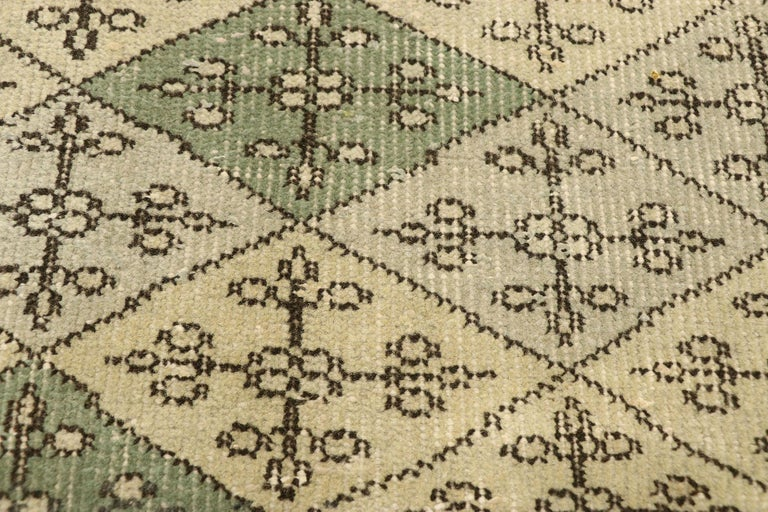 Hand-Knotted Zeki Muren Distressed Vintage Turkish Sivas Rug with Swedish Farmhouse Style For Sale