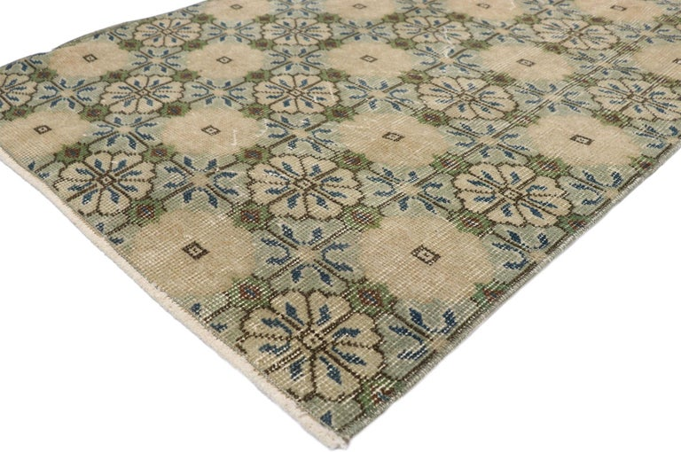 52597 Zeki Muren distressed vintage Turkish Sivas runner with Swedish Farmhouse style. Lovingly timeworn with Gustavian grace, this hand knotted wool distressed Turkish Sivas runner beautifully embodies a Swedish Farmhouse style. The field is