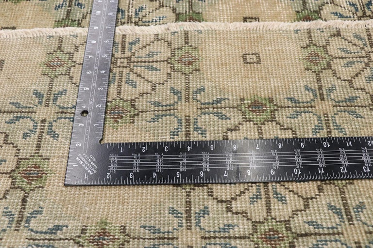 Zeki Muren Distressed Vintage Turkish Sivas Runner with Swedish Farmhouse Style In Distressed Condition For Sale In Dallas, TX