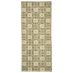 Zeki Muren Distressed Vintage Turkish Sivas Runner with Swedish Farmhouse Style