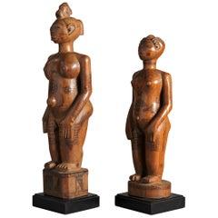 Zela People, DRC, Two Wooden Ancestors Sculptures with Scarifications