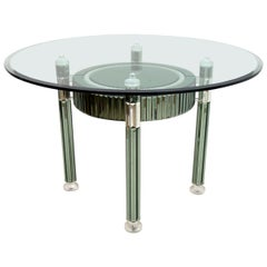 Zelino Poccioni Italian Modern Round Dining Table Mirrored Crystal for MP2
