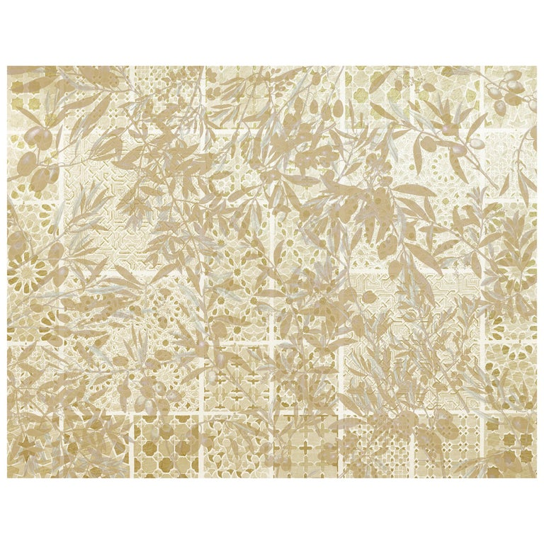 Zellige Beldi - custom mural wallpaper (color sand) For Sale